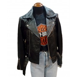 Recycled black leather jacket