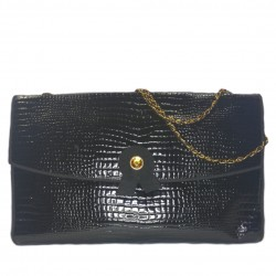 Leather reptile printed bag
