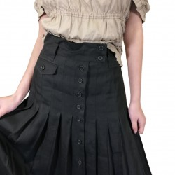Black linen pleated skirt