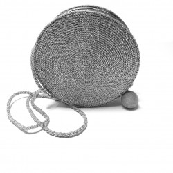 Silver leather and cord purse