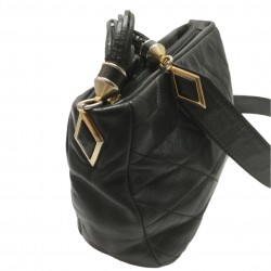 Black leather bag with...