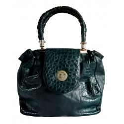 Vintage dark green leather bag