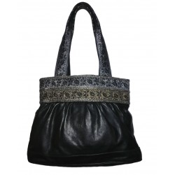Extralarge black leather bag