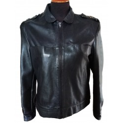 Black leather 80's jacket